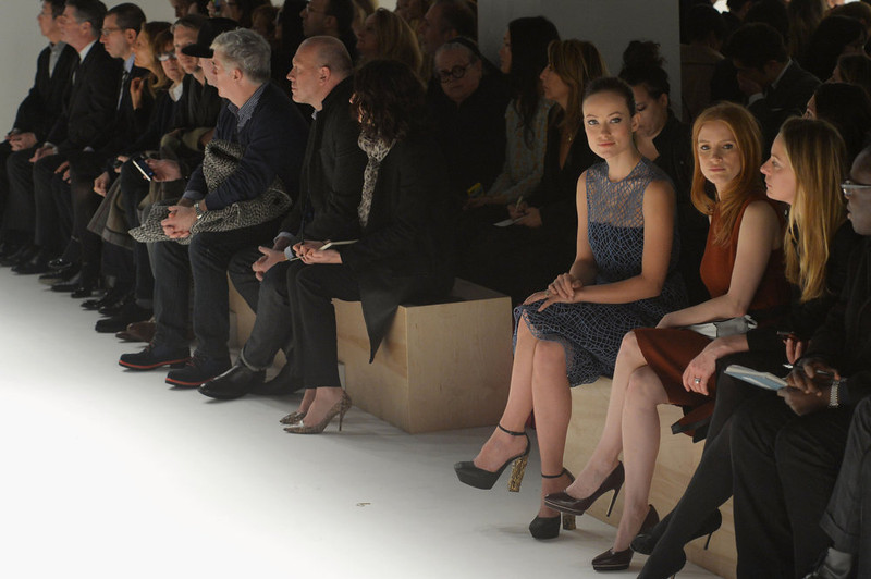 . Actresses Olivia Wilde and Jessica Chastain attend the Calvin Klein Collection Fall 2013 fashion show during Mercedes-Benz Fashion Week at 205 West 39th Street on February 14, 2013 in New York City.  (Photo by Mike Coppola/Getty Images for Mercedes-Benz Fashion Week)