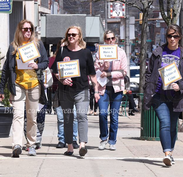 "Harold Aughton/Butler Eagle: Members of the advocay group ""VOIC"" gathered at noon, Wed. April 10 for a ""Walk-out"" in support of victims rights.  Harold Aughton/butler eagle"