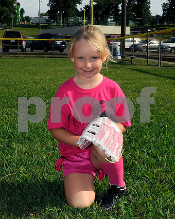 5-6 Softball Pink Team, Coaches Roni Harrison & Bethany Cooper.