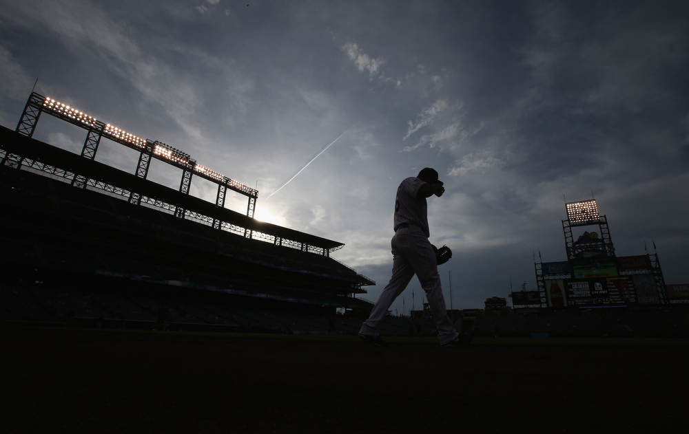 . Starting pitcher Franklin Morales #56 of the Colorado Rockies takes the field to warm up prior to facing the San Francisco Giants at Coors Field on April 22, 2014 in Denver, Colorado.  (Photo by Doug Pensinger/Getty Images)
