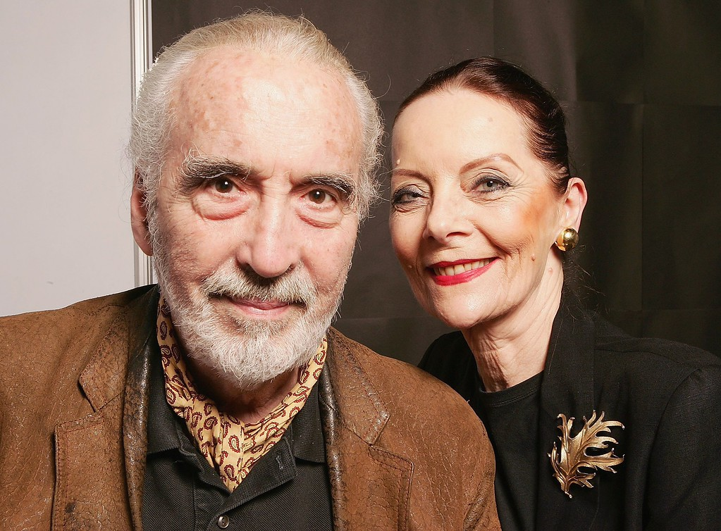 . Actor Christopher Lee poses for photograph with his wife Brigitta during the Bangkok International Film Festival at Siam Paragon Festival Venue on February 20, 2006 in Bangkok, Thailand.  (Photo by Patrick Riviere/Getty Images)