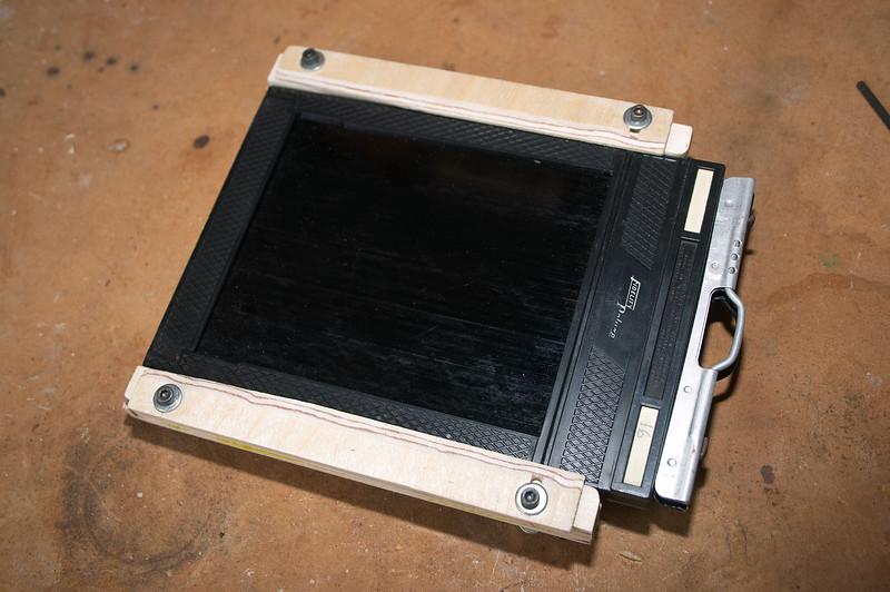 Film holder installed and locked