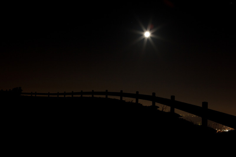 I love the curve of this railing, I stopped the moon down to give the stars
