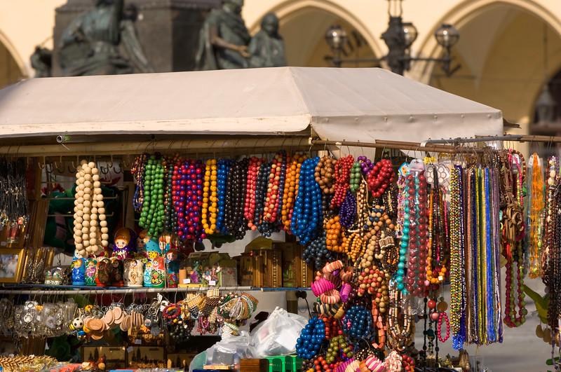 Poland, Cracow, stall on Rynek Glowny