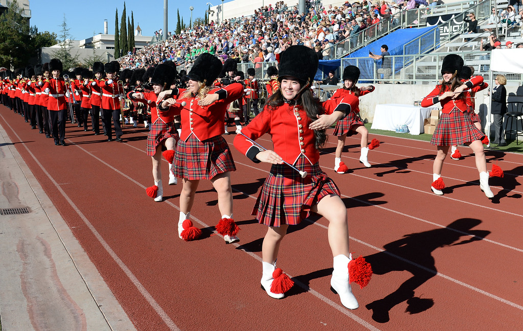 . The Liberty High School Grenadier Band from Bethlehem, Pennsylvania performs during the 34th Annual Pasadena Tournament of Roses Bandfest at Pasadena City College on Monday December 30, 2013. (Staff Photo by Keith Durflinger/Pasadena Star-News)