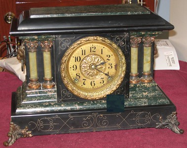 Seth Thomas Green and Black Adamantine Mantel Clock, Made July 1906