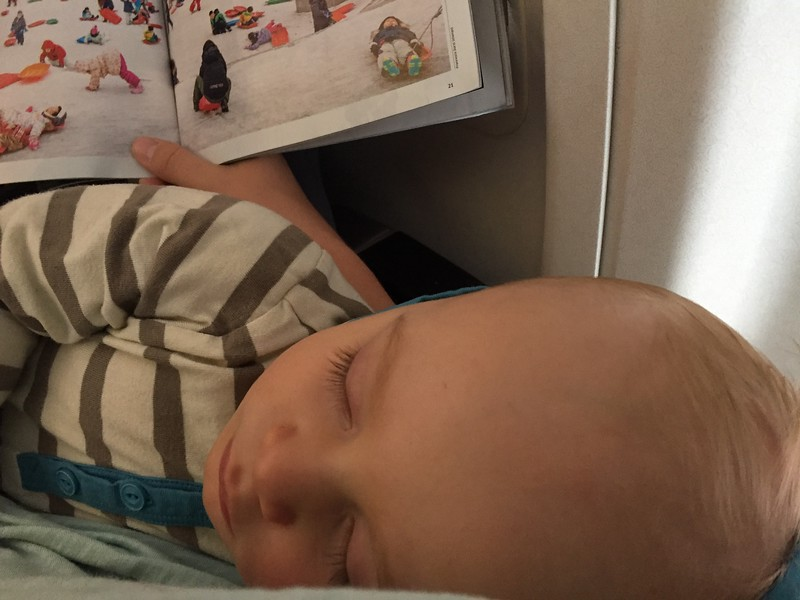 Leif sleeping on the plane