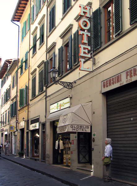 The Globus, our hotel in Florence. We loved it. Our room was quiet, the staff was friendly and very helpful, and the included breakfast was generous and tasty!