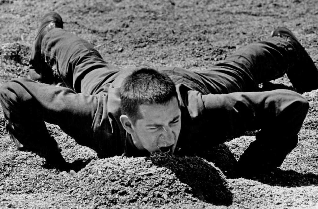 . When the Sarge says hit the dirt, Basic Peter B. Milin really takes it to heart. 1975. The Denver Post Library Archive