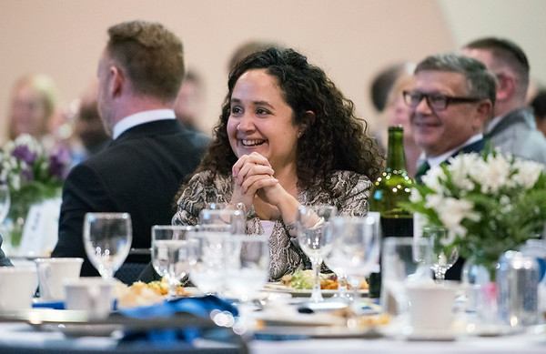 11/21/19 Wesley Bunnell | Staff The Greater New Britain Chamber of Commerce celebrated their 106th year with their annual dinner on Friday night at CCSU. CCSU's Nelba Marquez-Greene.