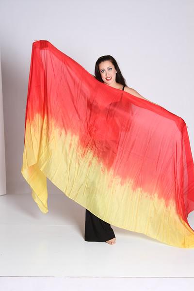 3.5 yard long veil $65 red/yellow-003