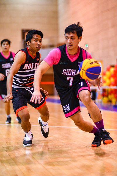 Bolts v's Zydra Snipers during a 3x3 Beat the Heat VIII match at Qatar Basketball Federation Sports Complex 30th August 2019. Photo by Tom Kirkwood