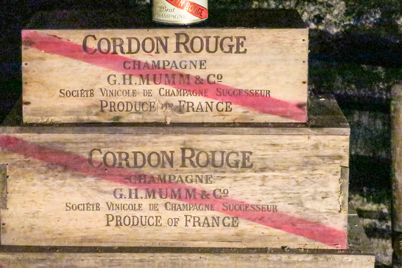 Historic wooden boxes of champagne