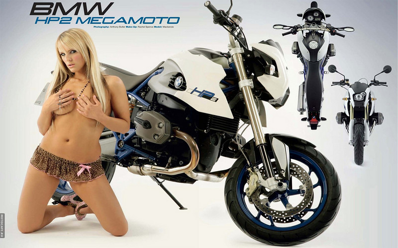What can I say (again!)! sexy young glamour model with the sexy BMW HP2 megamoto