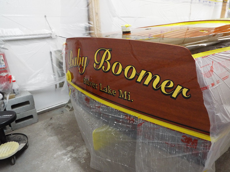 Transom sanded and buffed.