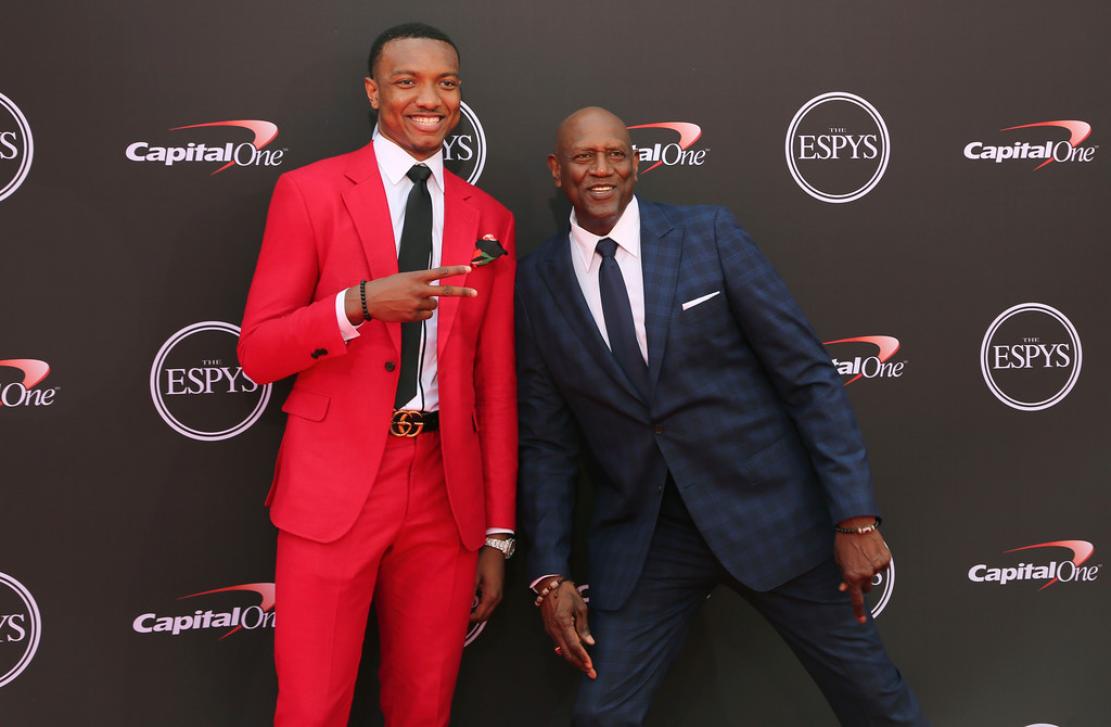 . Chicago Bulls\' Wendell Carter Jr., left, and former NBA player Spencer Haywood arrive at the ESPY Awards at Microsoft Theater on Wednesday, July 18, 2018, in Los Angeles. (Photo by Willy Sanjuan/Invision/AP)