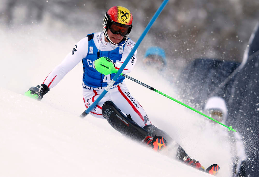 Description of . Austria's Marcel Hirscher competes on his way to set the fastest time during the first run of an alpine ski, men's World Cup slalom in Val d'Isere, France, Saturday, Dec. 8, 2012. (AP Photo/Alessandro Trovati)