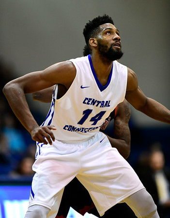 1/19/2019 Mike Orazzi | Staff CCSU's Deion Bute (14) during Saturday's Men's basketball game with Saint Francis University in New Britain.
