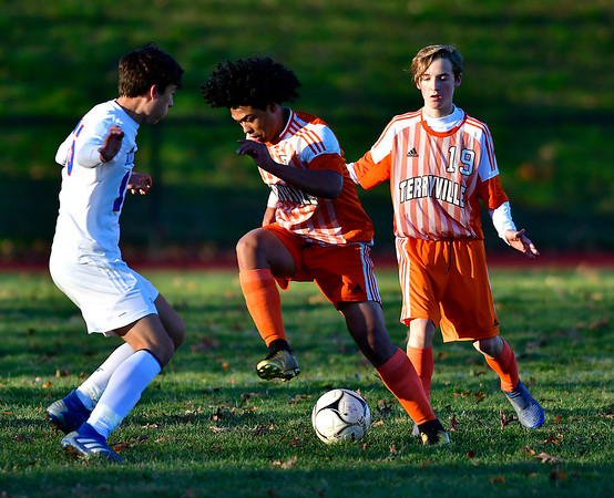 11/6/2019 Mike Orazzi | StaffrTerryville High School's Devin Dao (7) during boys soccer with Nonnewaug at THS Wednesday.