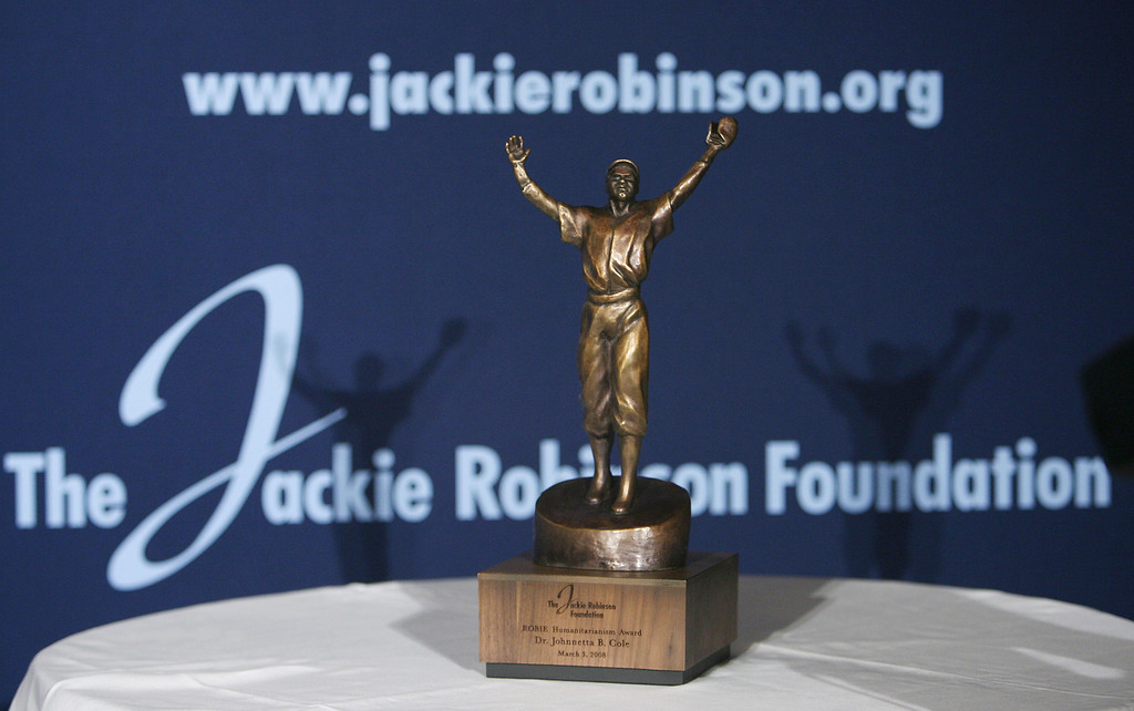 . Close-up of the Jackie Robinson award at the 35th Anniversary of the Jackie Robinson Foundation at the Waldorf Astoria hotel on March 3, 2008 in New York City.  (Photo by Bryan Bedder/Getty Images for the Jackie Robinson Foundation)