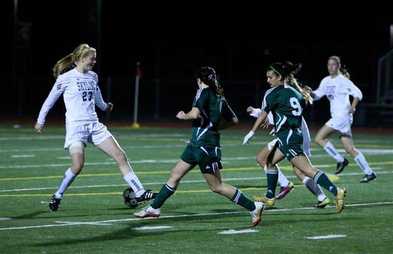 Sophie Chakalo, Haley Fay  Woodinville High Girls Varsity Soccer verse Skyline High October 20, 2011, ©Neir