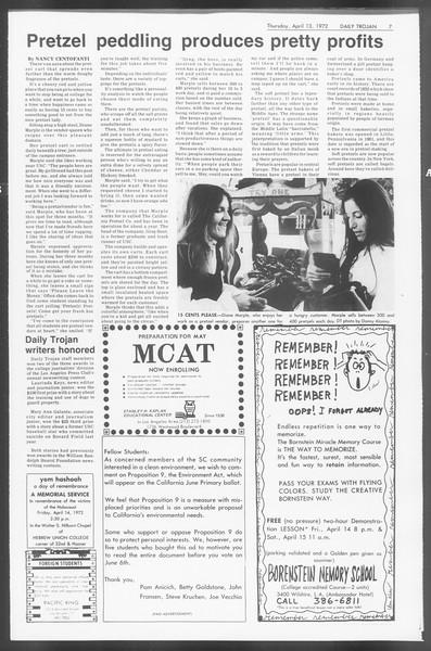 Daily Trojan, Vol. 64, No. 103, April 13, 1972