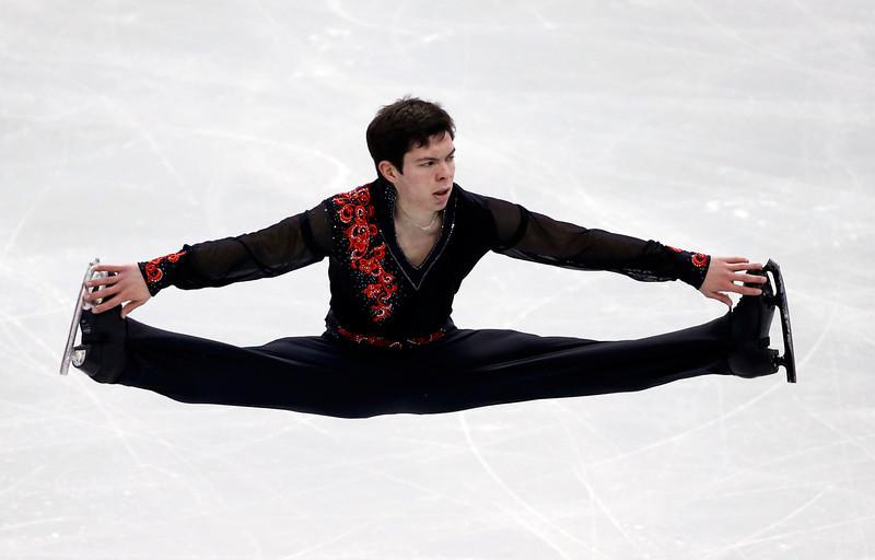 . Keegan Messing competes in the men\'s free skate at the U.S. Figure Skating Championships in Boston, Sunday, Jan. 12, 2014. (AP Photo/Elise Amendola)