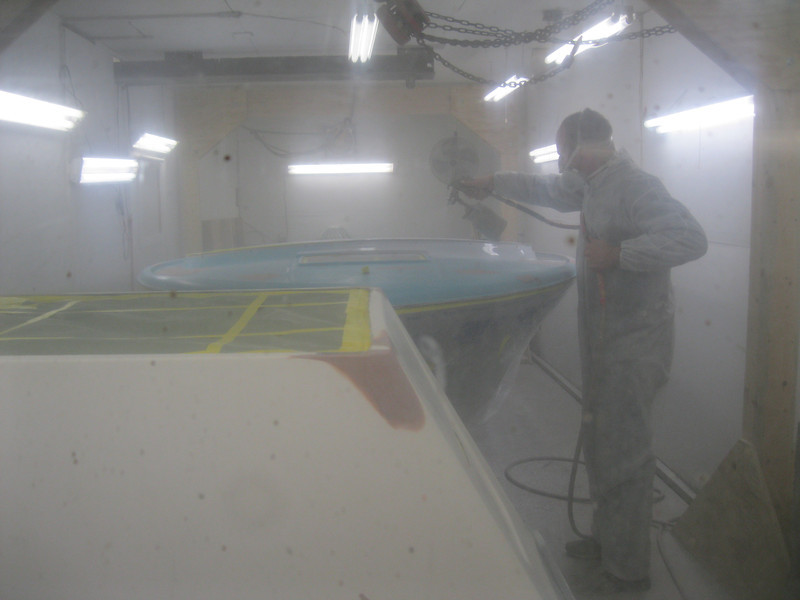 Primer being applied to the deck.