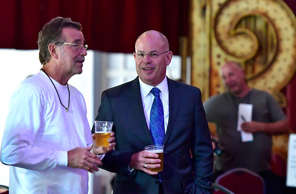 9/6/2019 Mike Orazzi | StaffrCraig Yarde talks with Bristol Hospital President Kurt Barwis during the 138th Annual Crocodile Club Dinner at Lake Compounce on Friday. r