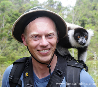 Me With a Friendly Black-and-white Ruffed Lemur