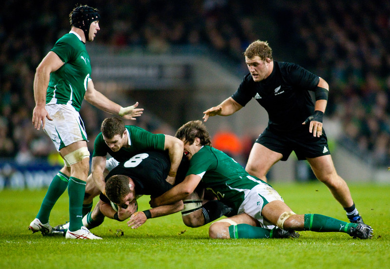 Kieran Read goes to ground during the International rugby test with Ireland against the New Zealand All Blacks at Aviva Stadium Dublin. November 2010