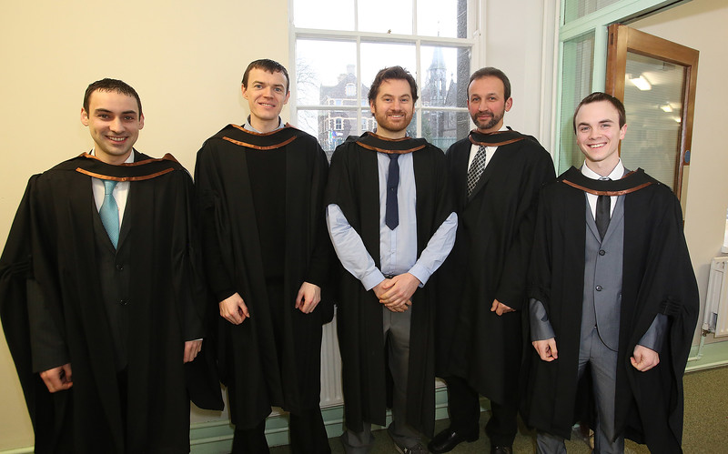 06/01/2014. FREE TO USE IMAGE. Waterford Institute Of Technology Conferring. Pictured at WIT Waterford Institute Of Technology Conferring are Paddy Murray, Roscrea, PJ Walsh, Piltown, Co Kilkenny, Glenn Gall, Waterford, Vadim Jones, Dunmore East and Kieran Barrett, Tipperary who graduated in Engineering Technology. Picture: Patrick Browne
