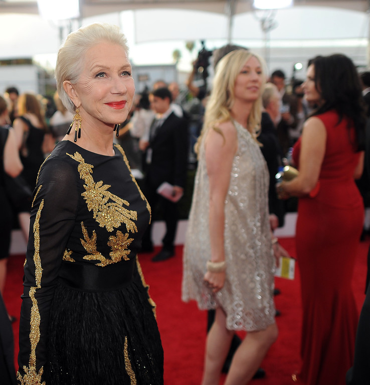 . Helen Mirren on the red carpet at the 20th Annual Screen Actors Guild Awards  at the Shrine Auditorium in Los Angeles, California on Saturday January 18, 2014 (Photo by Hans Gutknecht / Los Angeles Daily News)