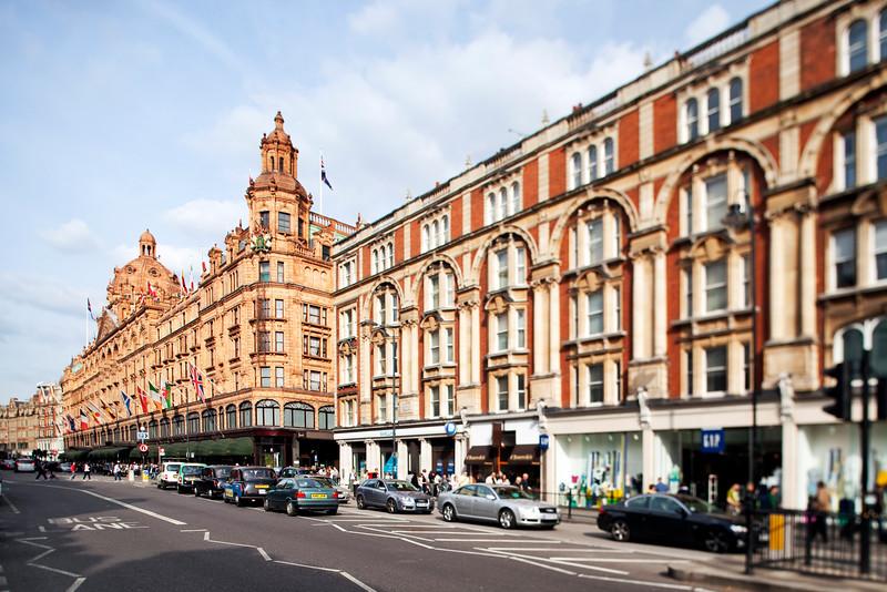 Harrods building on Brompton Road, London, England, United Kingdom