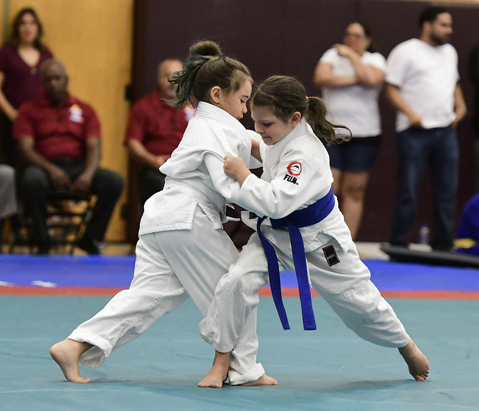 7/21/2018 Mike Orazzi | Staff Mackenzie Dunn and Josephina Fox during the Nutmeg Games Judo held at New Britain High School Saturday morning.