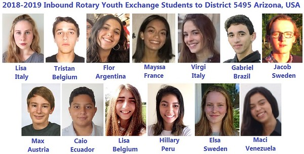 Arizona Rotary D5495 RYE Students 2018-2019