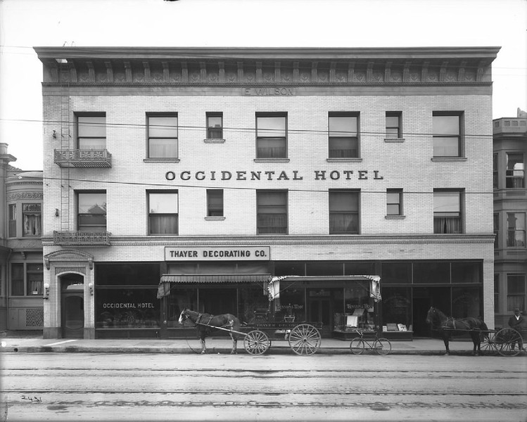 Occidental Hotel on the east side of Hill Street between Fourth Street and Fifth Street, ca.1910