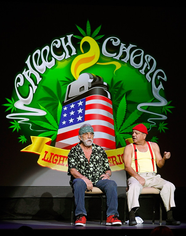 . LAS VEGAS - OCTOBER 18:  Tommy Chong (L) and Cheech Marin of the comedy duo Cheech & Chong perform at The Pearl concert theater at the Palms Casino Resort October 18, 2008 in Las Vegas, Nevada.  (Photo by Ethan Miller/Getty Images)