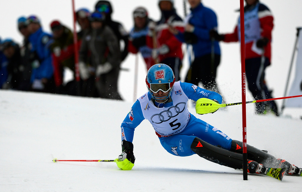 . BEAVER CREEK, CO - FEBRUARY 15: Stafano Gross of Italy competes in the first run of the Men\'s slalom during the FIS  Alpine World Ski Championships in Beaver Creek, CO. February 15, 2015. (Photo By Helen H. Richardson/The Denver Post)