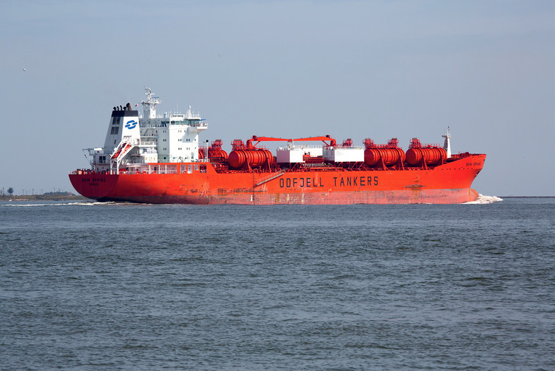 Now we're at the end of the Dike.  We see the Odfjell Tanker Bow Spring leaving the Ship Channel