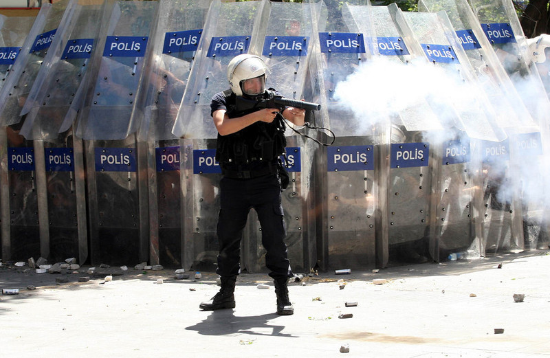 . Demonstrators clash with police during a protest against Turkey\'s Prime Minister Tayyip Erdogan and his ruling Justice and Development Party (AKP) in central Ankara on June 1, 2013.  On Saturday, police in Ankara blocked a group of demonstrators from marching on parliament and the prime minister\'s office.   ADEM ALTAN/AFP/Getty Images