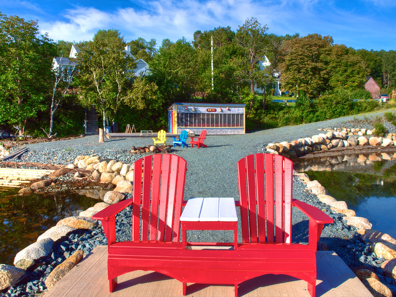 Colorful Wharf and Boat House