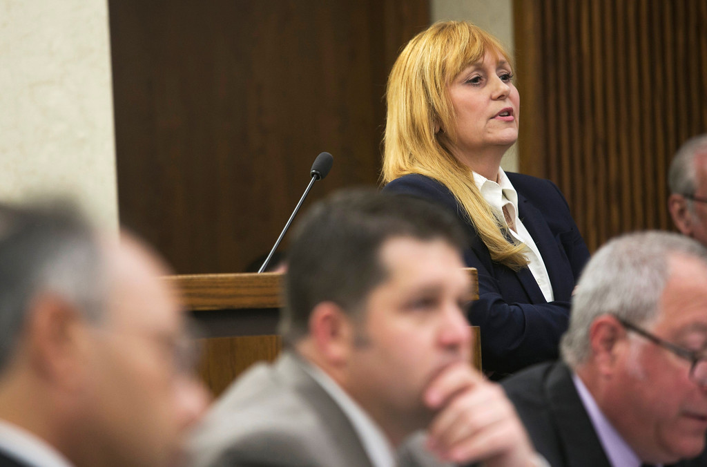. Michael Allen Blair/MBlair@News-Herald.com Prosecutor Lisa Neroda examines a witness on day three of Kevin Knoefel\'s murder conspiracy trial in Lake County Common Pleas Court on June 4, 2014.