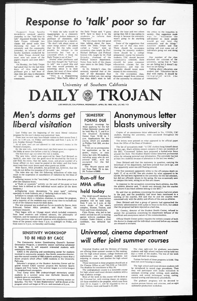 Daily Trojan, Vol. 60, No. 113, April 30, 1969