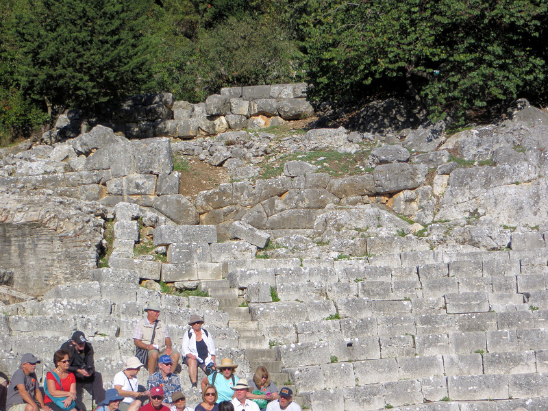 Butrint had a theater, built originally in the 3rd century B. C. but improved upon later by the Romans.  It seated about 1500 people.