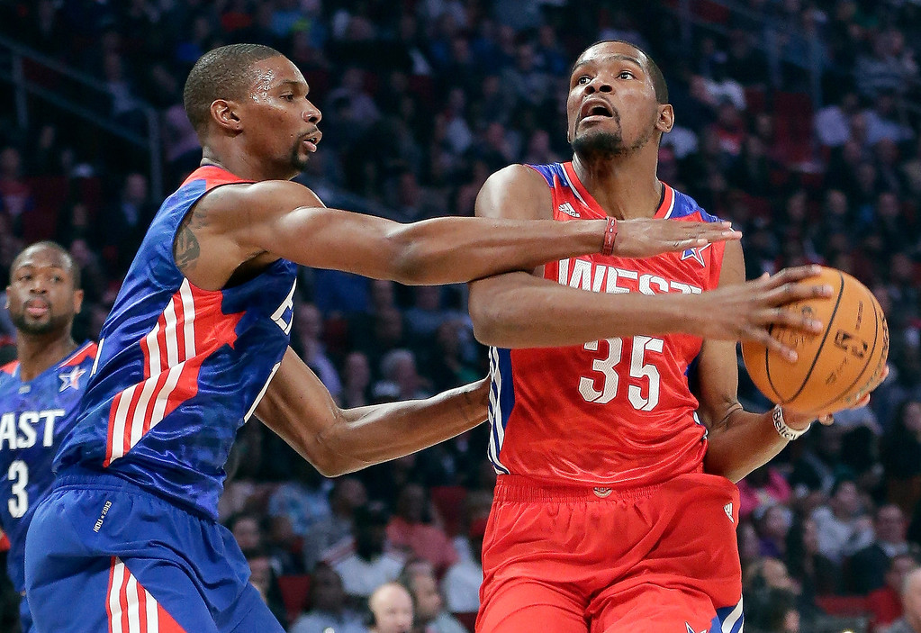 . East Team\'s Chris Bosh of the Miami Heat guards West Team\'s Kevin Durant of the Oklahoma City Thunder during the first half of the NBA All-Star basketball game Sunday, Feb. 17, 2013, in Houston. (AP Photo/Eric Gay)