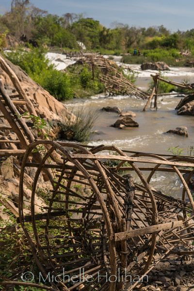 Fishtraps and waterfalls on the Mekong near Don Khon, Laos