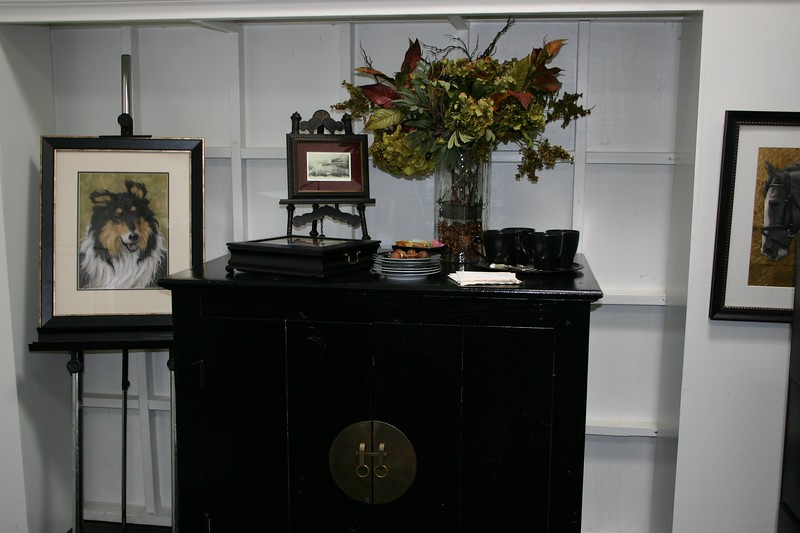 Refreshment table in the framing and matting room