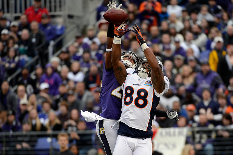 . Baltimore Ravens cornerback Cary Williams #29 breaks up a pass to Denver Broncos wide receiver Demaryius Thomas #88 at the M&T Bank Stadium, in Baltimore, MD Sunday December 16, 2012.      Joe Amon, The Denver Post