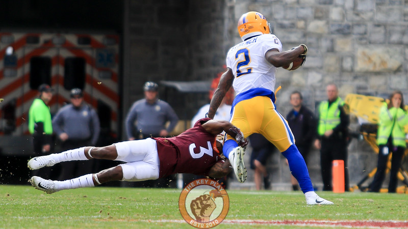 Greg Stroman (3) attemps to tackle Pitt WR Maurice French. (Mark Umansky/TheKeyPlay.com)